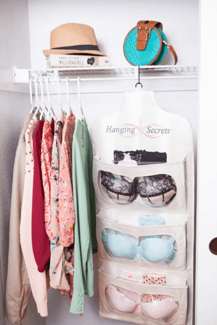 Hanging Secrets intimate apparel organizer closet
