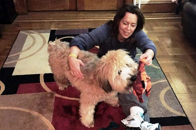 Idania with Bono on the Woof Woof Wouse Floor
