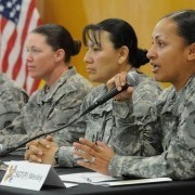 """Sgt. Michallie Wesley, an operations noncommissioned officer in B Company, Brigade Special Troops Battalion, 2nd Advise and Assist Brigade, 1st Infantry Division, United States Division-Center, answers a question as a panelist taking part in an interactive discussion on the theme of """"Women Serving in Combat"""" at Camp Liberty, Iraq, Wednesday, March 16, 2011 (U.S. Army photo by Sgt. Jennifer Sardam) (released)"""