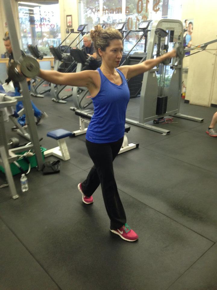 Monica Taher, serial tech entrepreneur, at a fitness center