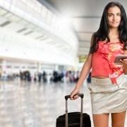 Latina entrepreneur waiting in an airport