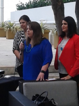 CO-CEO Piera Jolly, of the JollyMom at the mic, CO-CEO Angela Sustaita-Ruiz of the Hispanic PR Blog and Hispanicize 2015, and CO-CEO Cristy Clavijo-Kish of Los Tweens & Teens and Hispanicize Wire at Hispanicize 2015.
