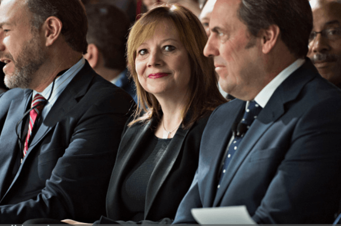 Johan De Nysschen, president of General Motors Co.'s Cadillac unit, left, Mary Barra, chief executive officer of General Motors Co. (GM), and Mark Reuss, executive vice president of global product development at GM,