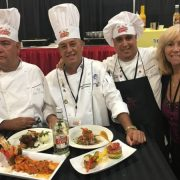 Susana from Latinasinbusiness.us with Chefs Otero Perez, Fernandez Monte and Chef Battle World Latino Cuisine