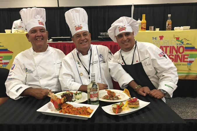Chefs Otero Perez, Fernandez Monte and Chef Battle from the Culinary Federation of Republic of Cuba World Latino Cuisine